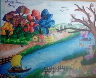 A village scenery in spring season...