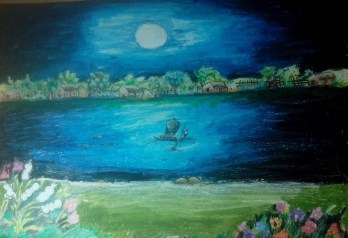 A scenery of rowing boat in moolit night....
