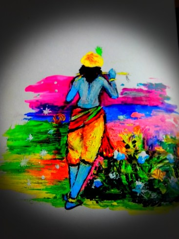 A painting of Lord Krishna with poster color....