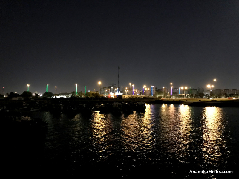 Corniche bay at night
