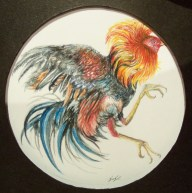Fight cock (Watercolor on paper)