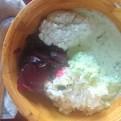 11/19 夕 米、ひきわりムング豆・ベイグドビーツ・ブロッコリーのスープ・ココナッツチャツネ・手で収穫したデーツ