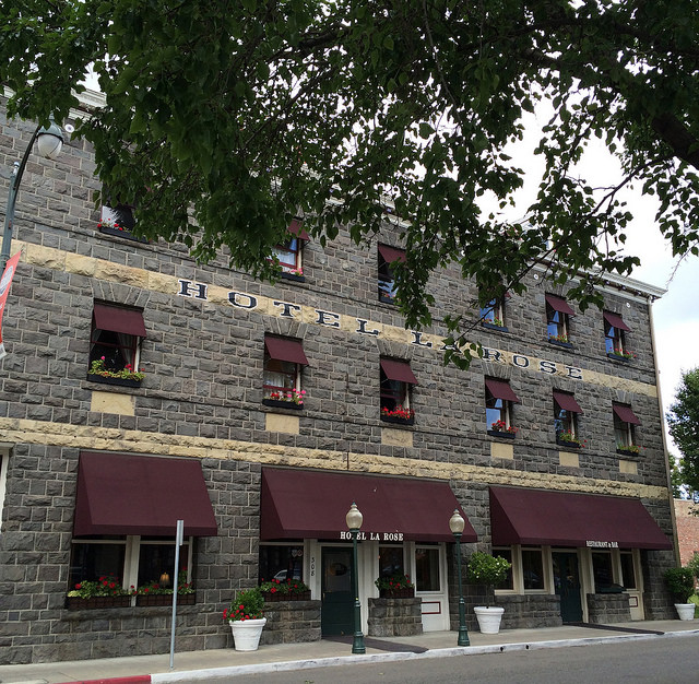 Stone buildings like this hotel give Railroad Square an old-timey feel.