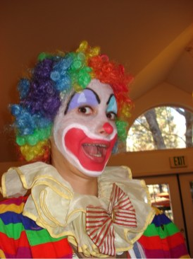 student clowning around
