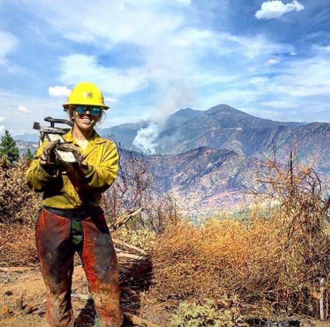 kayla in her fire fighter gear