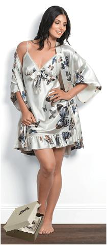KIM Blush Butterfly slip & gown Gingerlily sleepwear