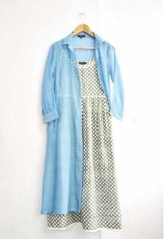 artisua dress with blue sheer jacket