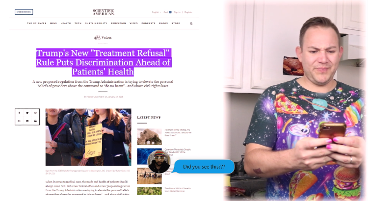 "still from video - man in galactic pizza tshirt looks at phone in disgust as headline describes Trump's ""treatment refusal"" healthcare rule"