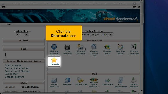 desktop shortcuts for cPanel