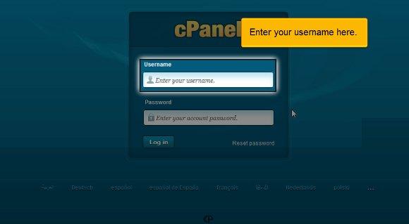 username cPanel Login