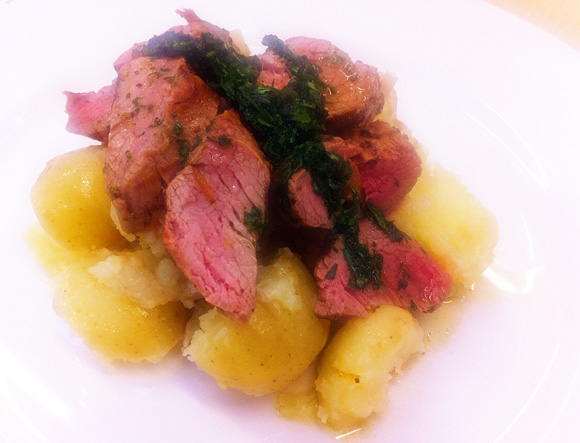 My attempt at Fillet of Lamb with Crushed New Potatoes and Mint Sauce