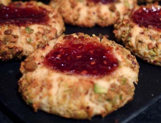 Pistachio and Raspberry Jam Cookies