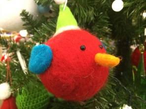 John Lewis at Christmas Felt Bird With Hat, Red