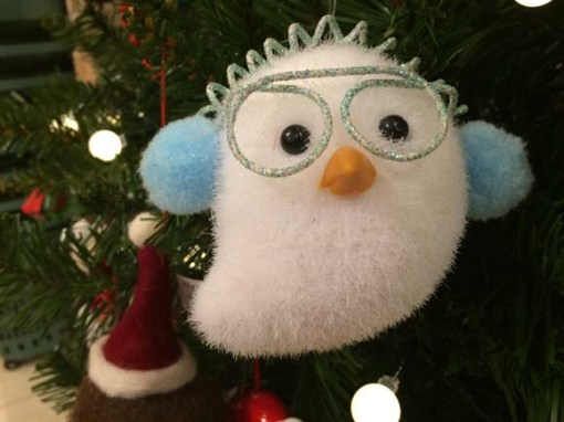 John Lewis at Christmas Owl Decoration, White:Blue