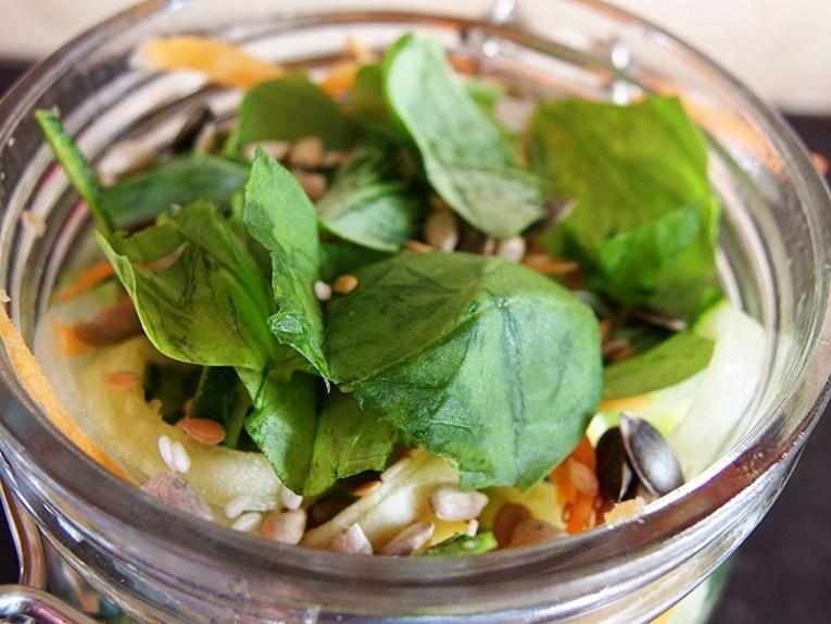 Lemon Pepper Chicken Salad with Tri-Color Noodles- Basil Leaves