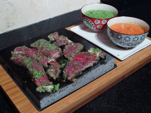LanzaroteCookOff- Rib Eye Slices in Mojo Verde on Lava Rock