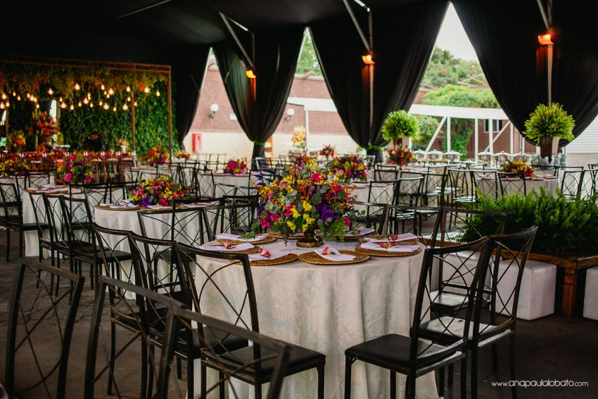 wedding decoration with colorful flowers and lighting
