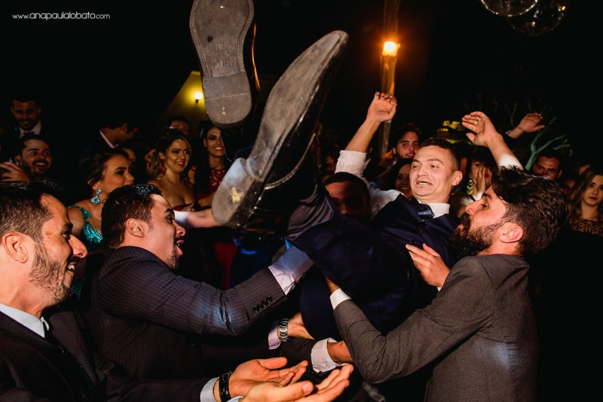 groom with funny friends