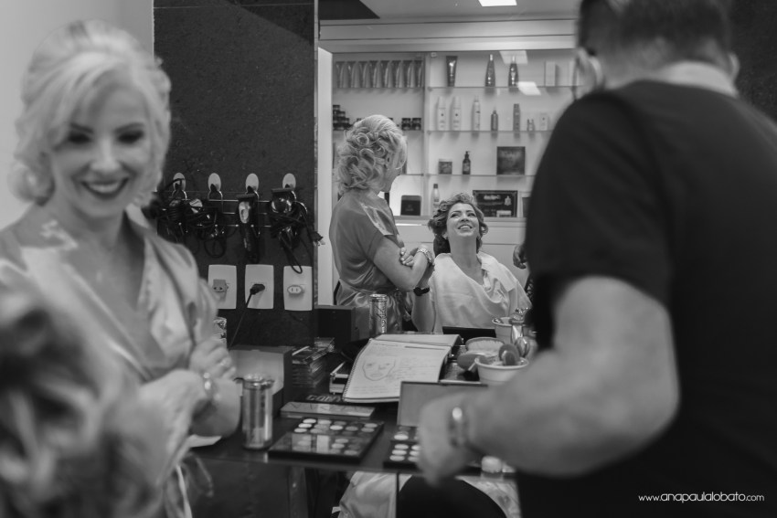 bride getting ready in a salon
