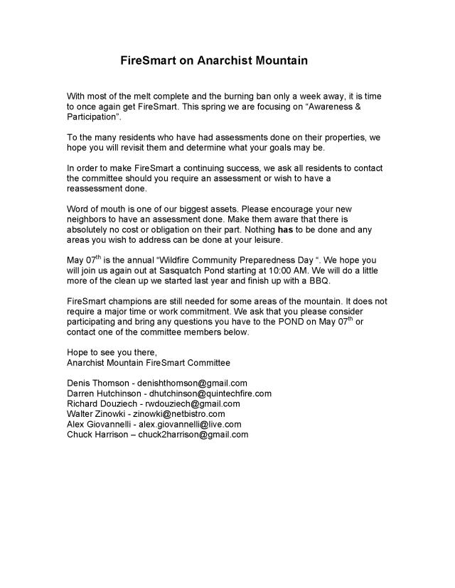 FireSmart Spring Letter 2016