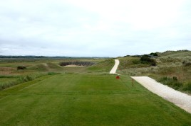 The view from the 15th tee. The huge cross bunker short of the green is the deepest on the course.