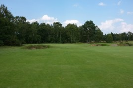 The view of the 7th green from the fairway.