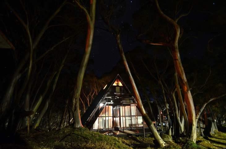 ANARE Ski Lodge at night