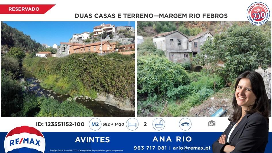 Reservado - Duas casas e Terreno na Margem do Rio Febros