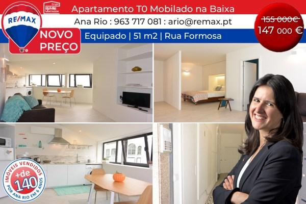 NOVO PREÇO - Apartamento T0 mobilado na Baixa do Porto