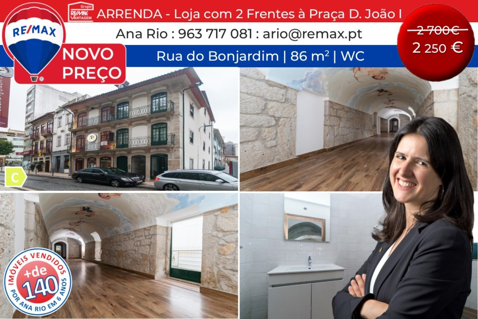 NOVO PREÇO - Arrenda Loja com 2 Frentes à Praça D. João I