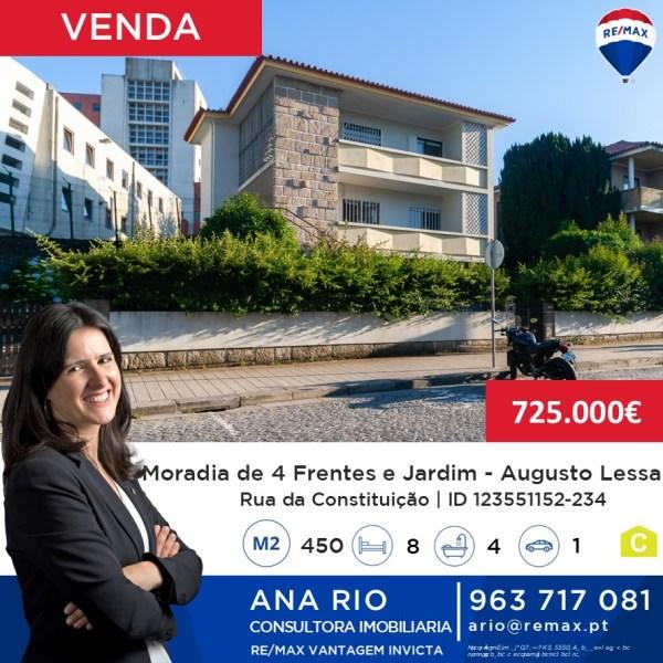 Moradia de 4 Frentes e Jardim em Augusto Lessa