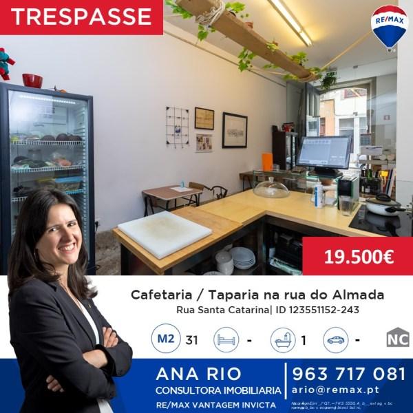 Trespasse Cafetaria/Taparia na Rua do Almada