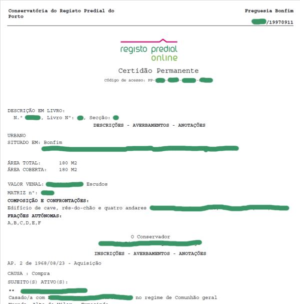 Certidão de Registo Predial - Certidão Permanente