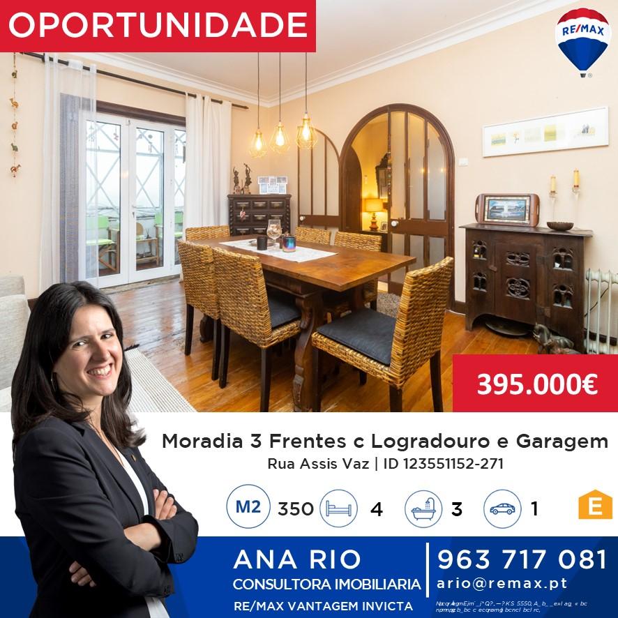 ID271 Moradia de 3 Frentes com Logradouro e Garagem