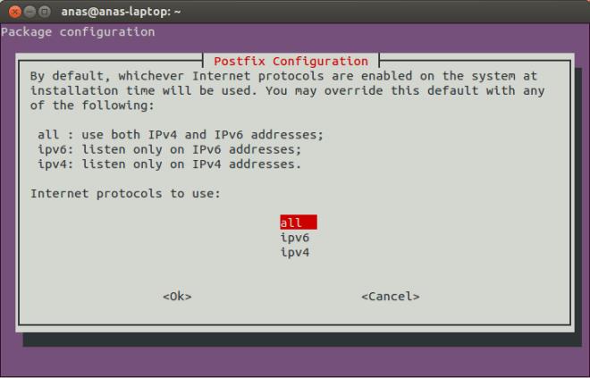 Postfix Configuration Screen 10
