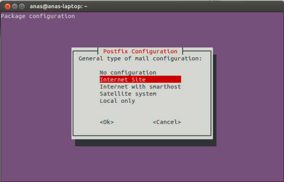 Postfix Configuration Screen 2