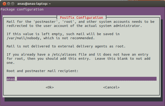 Postfix Configuration Screen 4