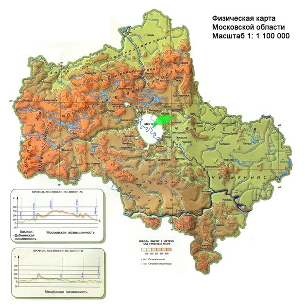 рельеф Московской области, карта