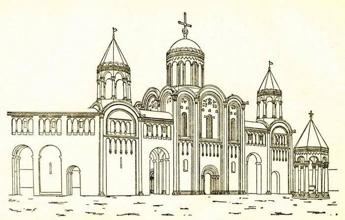 Комплекс зданий вокруг церкви Рождества Богородицы в XII веке, реконструкция
