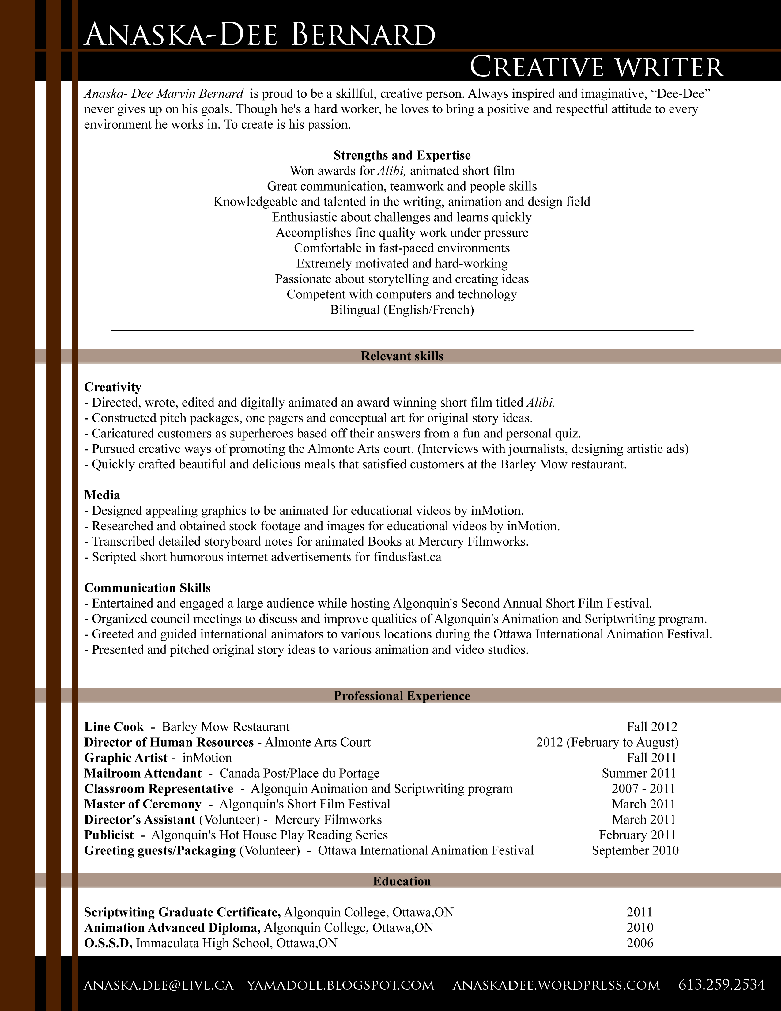 Writer Resume Example Resume Writers For Creatives College Application Essay