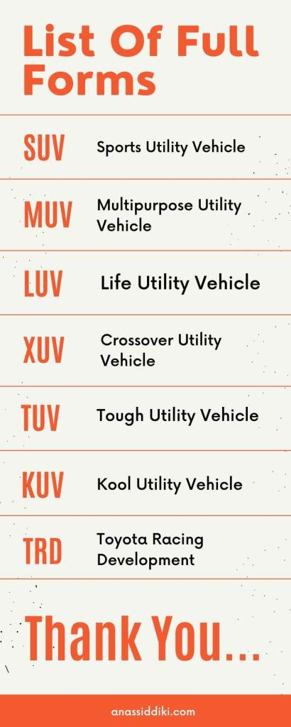 Full Form of SUV, LUV, XUV, KUV, TRD, MUV, TUV in Hindi