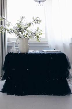 black table tutu DIY and white cherries