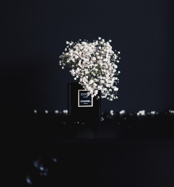 coco chanel bottle with baby's breath via anastasiabenko@hotmail.com