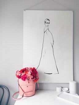 fashion illustration and blush purse with pink flowers / stylist Anastasia Benko