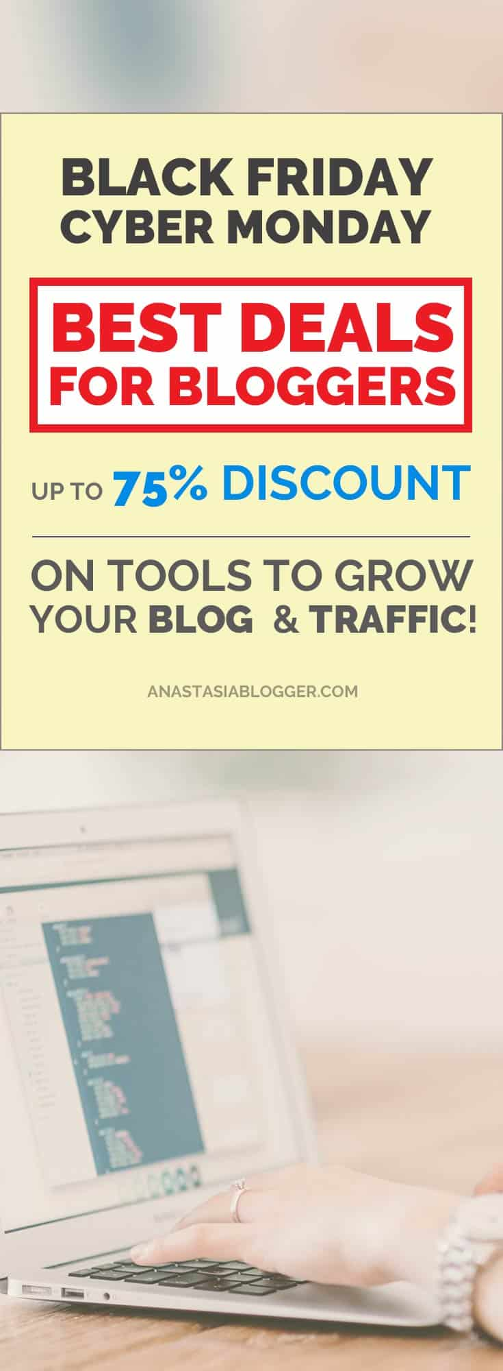 Best online marketing tools to grow your traffic, hosting, premium Wordpress Themes and plugins with discounts up to 75% for Black Friday & Cyber Monday! #Blackfriday2017 #BlackFriday #Blackfridaysale #Cybermonday2017 #CyberMonday