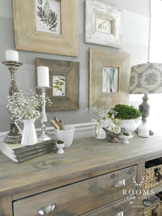 Mix and Match Distressed Frames - DIY farmhouse decor ideas are very trendy these days if you watch some home renovation TV shows you probably know that it's in high demand now. Check this farmhouse decor on a budget for the living room, bedroom, country kitchen, bathroom and other parts of your rustic home.