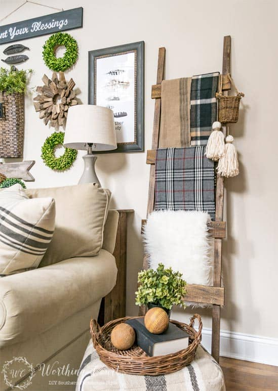 DIY Rustic Ladder For Under $20 - DIY farmhouse decor ideas are very trendy these days if you watch some home renovation TV shows you probably know that it's in high demand now. Check this farmhouse decor on a budget for the living room, bedroom, country kitchen, bathroom and other parts of your rustic home.
