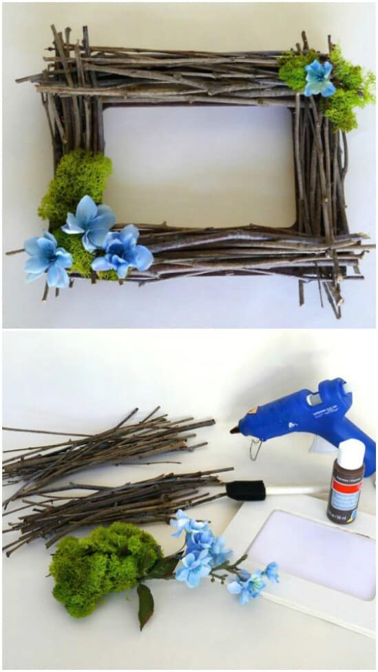 Rustic Twig Frame - DIY farmhouse decor ideas are very trendy these days if you watch some home renovation TV shows you probably know that it's in high demand now. Check this farmhouse decor on a budget for the living room, bedroom, country kitchen, bathroom and other parts of your rustic home.