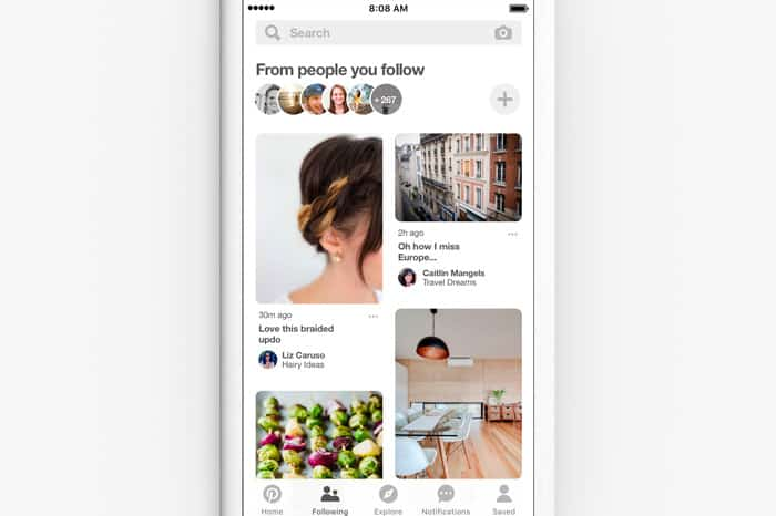 Pinterest changes - following tab
