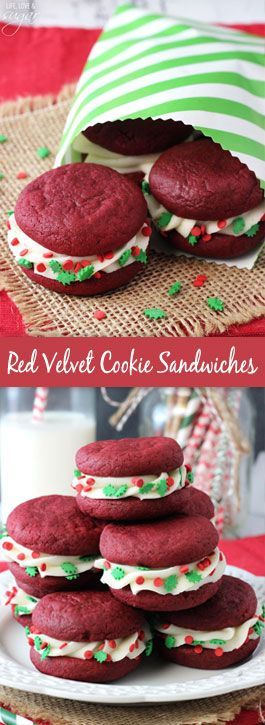 Red Velvet Cookie Sandwiches - Best Christmas Desserts - Recipes and Christmas Treats to Try this Year! Try these amazing and cute easy Christmas dessert recipes to have a great party for your kids, friends, and family! Cupcakes, cakes, sweet bites, pies, brownies, home-made Christmas popcorn, Christmas cookies and other delights. #christmas #dessertfoodrecipes #xmas #recipes #food #christmasfood